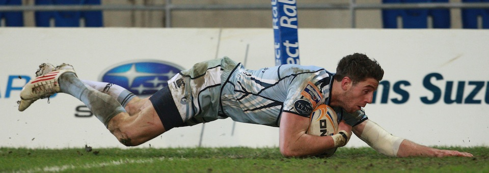 Cuthbert Scoring a Try for Cardiff